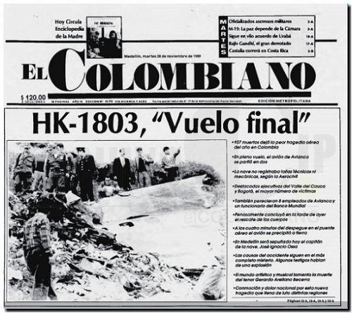 Descripción: Avión de la aerolínea Avianca, exploto en pleno vuelo. Fecha: 28 de nov 1989. Fuente: ArchivoCIP- @El Colombiano