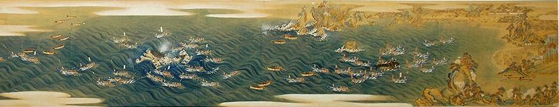 Pintura del Periodo Edo en la que se representa esta tradicional caza de cetáceos.