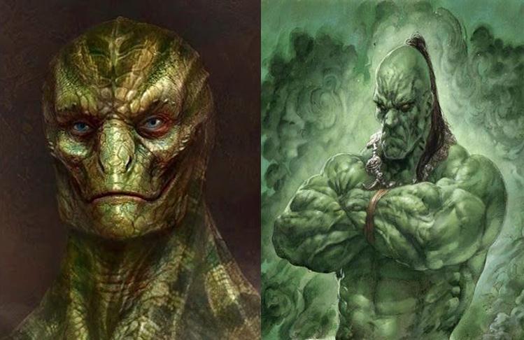 """A la izquierda, Reptiliano representado artísticamente. A la derecha, demonio """"Djinn"""" del Islam."""