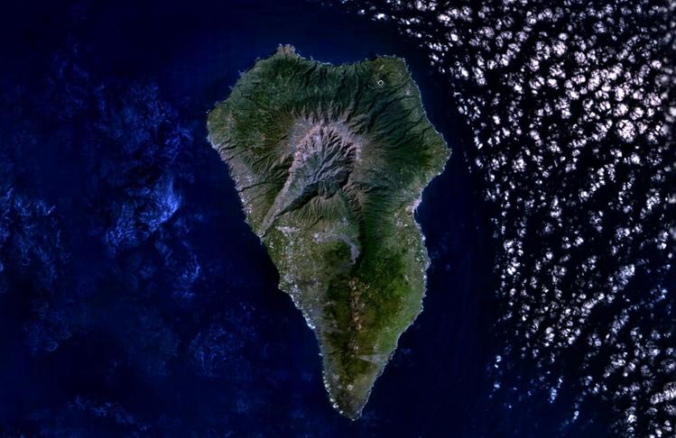 Imagen desde el espacio de La Isla de La Palma.