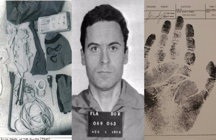 Fotografía de Ted Bundy junto al contenido del material en su maletero (izquierda) y la palmatoscopia de su mano izquierda (derecha).