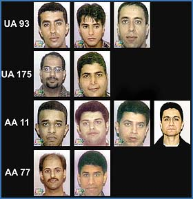 Undated file photographs show 11 of the 19 suspected hijackers responsible for the attacks on the World Trade Center and the Pentagon as well as those that hijacked the plane that crashed in Pennsylvania September 11, 2001, according to the Justice Department. Shown from top (L-R) from United Airlines flight 93, Ahmen al-Haznawi, Ahmed al-Nami and Ziad Jarrahi; from United Airlines flight 175 (2nd row, L-R), Marwan al-Shehhi and Hamza al-Ghamdi; from American Airlines flight 11 (3rd row) Satam al-Suqami, Waleed M. al-Shehri, Wail al-Shehri, and Mohamed Atta; and from American Airlines flight 77, Khalid al-Mihmadi, and Majed Moqed. REUTERS/HO-WFOR CBS 4