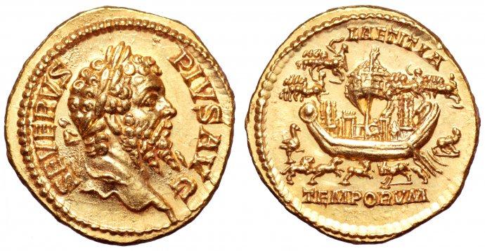 moneda romana donde aparece barco con objetos para ritaules